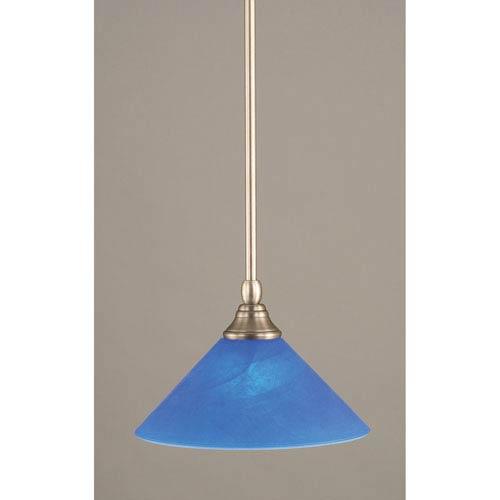 Toltec Lighting Brushed Nickel One-Light Mini Pendant with Blue Italian Glass