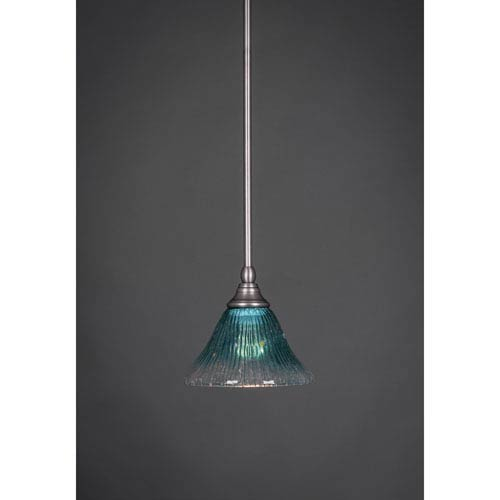 Brushed Nickel Stem Mini Pendant with Teal Crystal Glass