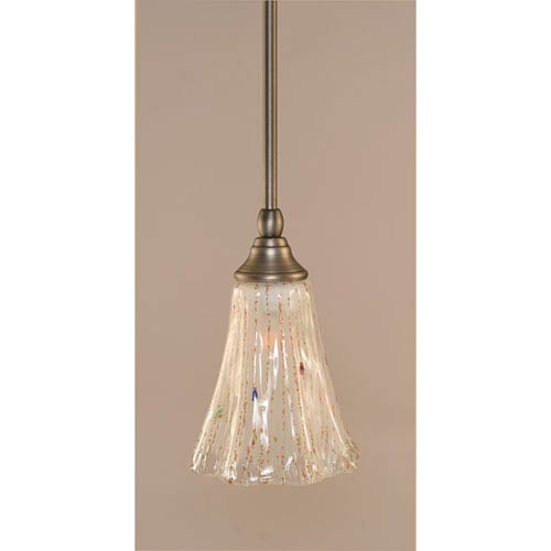 Toltec Lighting Brushed Nickel One-Light Stem Mini Pendant w/ 5.5-Inch Frosted Crystal Glass