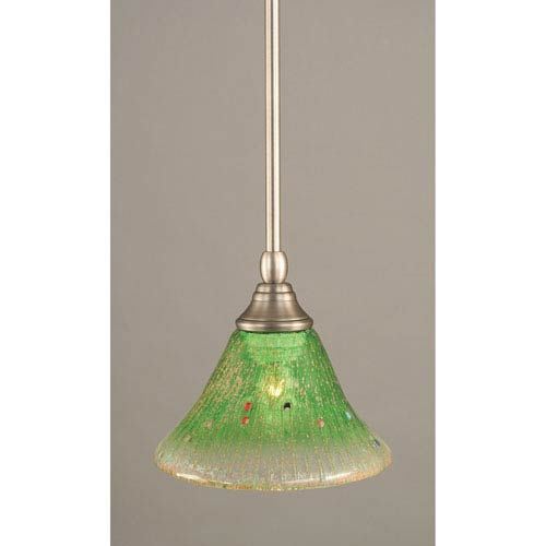 Brushed Nickel Stem Mini Pendant with Kiwi Green Crystal Glass
