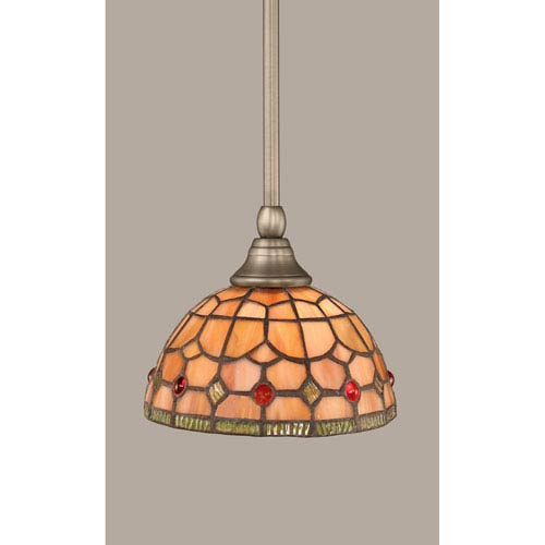 Toltec Lighting Brushed Nickel Stem Mini Pendant with 7-Inch Rosetta Tiffany Glass