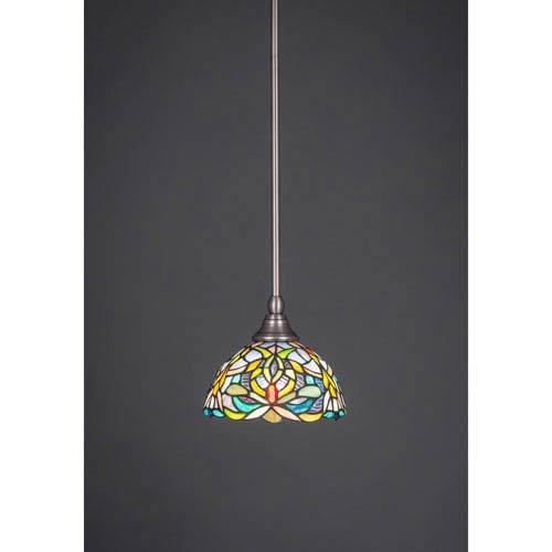 Brushed Nickel Stem Mini Pendant with 7-Inch Kaleidoscope Tiffany Glass