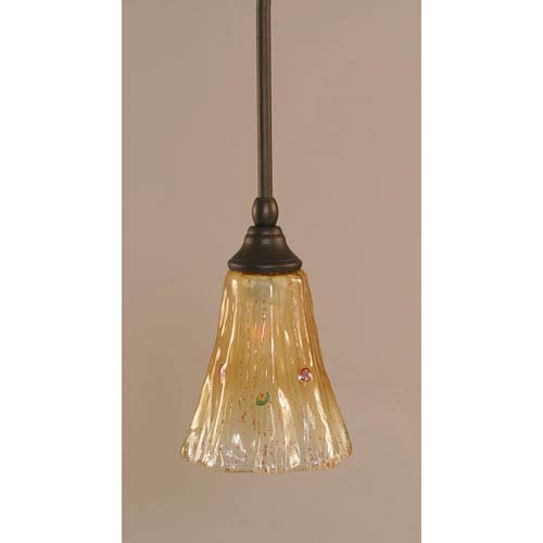 Toltec Lighting Bronze One-Light Stem Mini Pendant w/ 5.5-Inch Amber Crystal Glass
