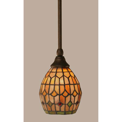Toltec Lighting Bronze Stem Mini Pendant with 5.5-Inch Rosetta Tiffany Glass