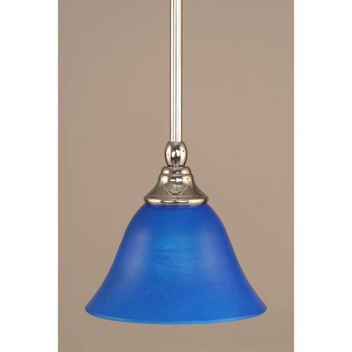 Chrome Stem Mini Pendant with Blue Italian Glass
