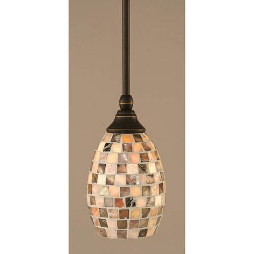 Dark Granite Stem Mini Pendant with Seashell Glass