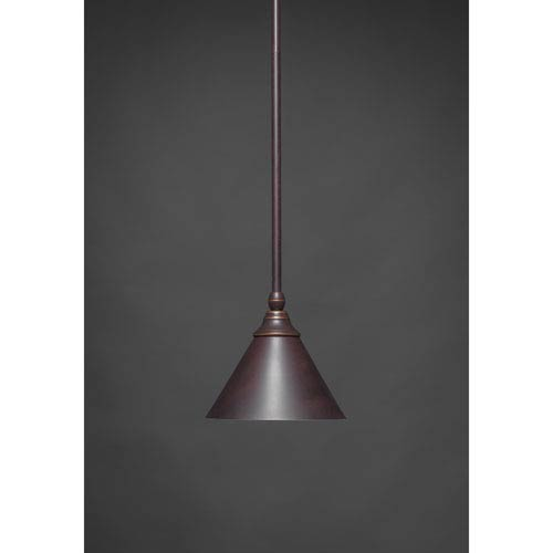 Toltec Lighting Dark Granite 7-Inch One Light Mini Pendant with Dark Granite Cone Metal Shade