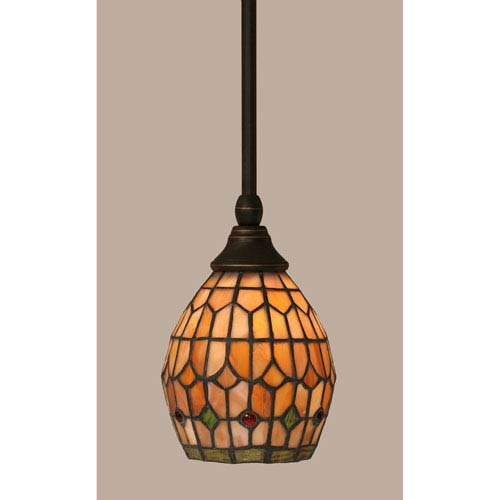 Toltec Lighting Dark Granite Stem Mini Pendant with 5.5-Inch Rosetta Tiffany Glass