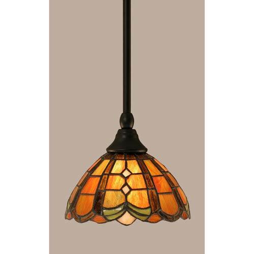 Toltec Lighting Matte Black Stem Mini Pendant with 7-Inch Paradise Tiffany Glass