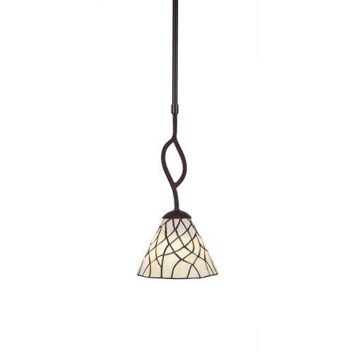 Toltec Lighting Revo Dark Granite One Light Mini Pendant With Sandhill Tiffany Gl