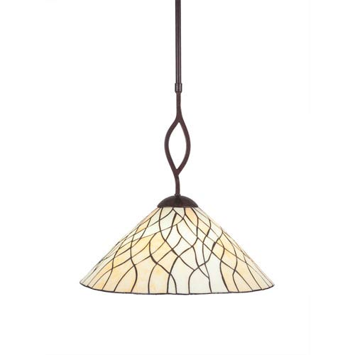 Revo Dark Granite One-Light Pendant with Sandhill Tiffany Glass