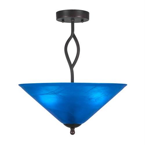 Revo Dark Granite Three-Light Semi-Flush with 16-Inch Blue Italian Glass