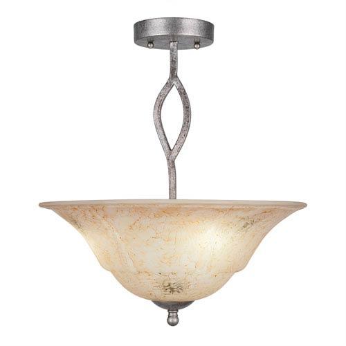Revo Aged Silver Three-Light Semi-Flush with 16-Inch Italian Marble Glass