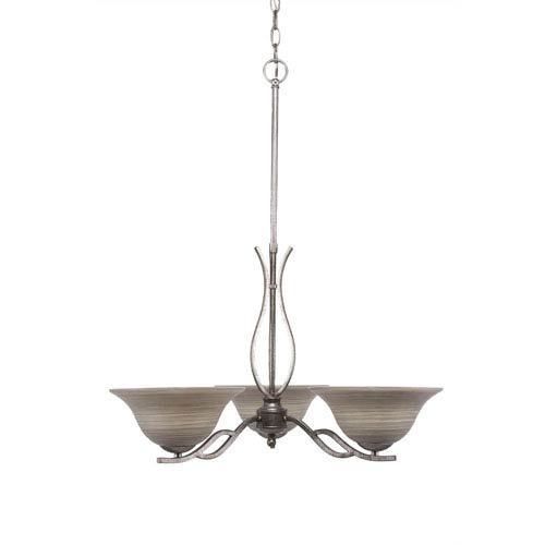 Toltec Lighting Revo Aged Silver Three-Light Chandelier with Gray Linen Glass