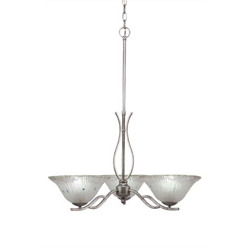 Revo Aged Silver Three-Light Chandelier with Frosted Crystal Glass