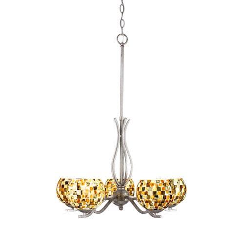 Revo Aged Silver Five-Light Chandelier with Sea Mist Seashell Glass