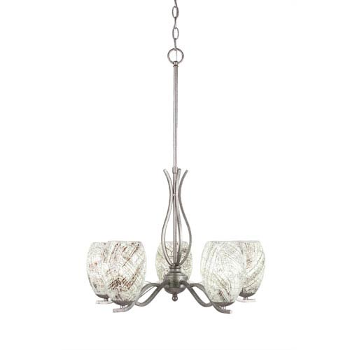 Revo Aged Silver Five-Light Chandelier with Natural Fusion Glass