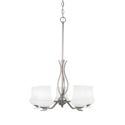Toltec Lighting Revo Aged Silver Five-Light Chandelier with Zilo White Linen Glass