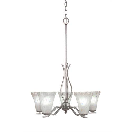 Revo Aged Silver Five-Light Chandelier with Fluted Amber Crystal Glass