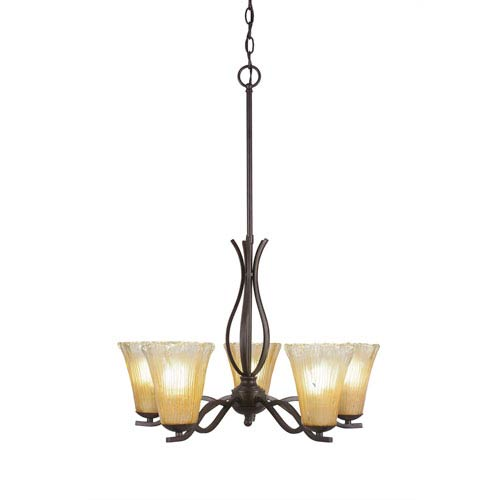 Toltec Lighting Revo Dark Granite Five-Light Chandelier with Fluted Frosted Crystal Glass