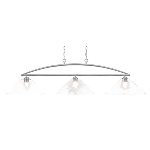 Toltec Lighting Marquise Brushed Nickel Three-Light Island Pendant with 16-Inch Clear Bubble Glass