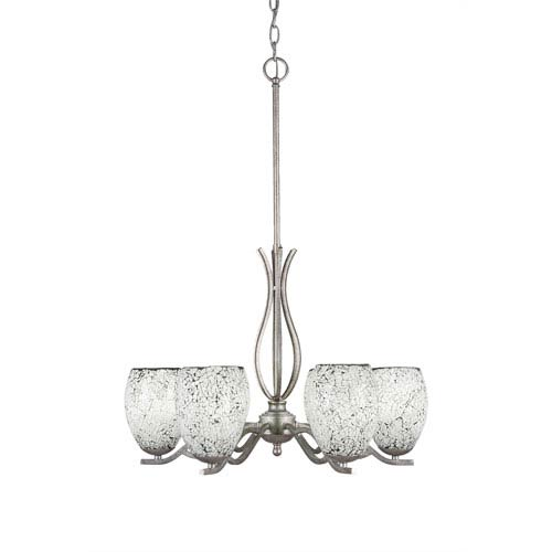 Toltec Lighting Revo Aged Silver Six-Light Chandelier with Black Fusion Glass