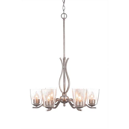 Revo Aged Silver Six-Light Chandelier with Clear Bubble Glass
