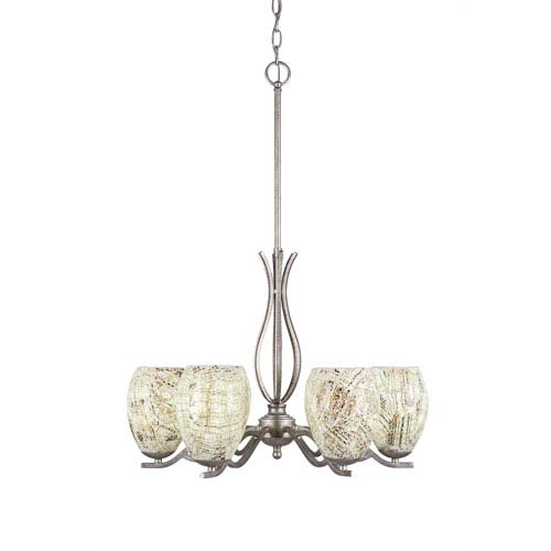 Revo Aged Silver Six-Light Chandelier with Natural Fusion Glass