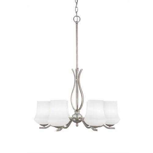 Revo Aged Silver Six-Light Chandelier with Zilo White Linen Glass