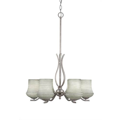 Revo Aged Silver Six-Light Chandelier with Zilo Gray Linen Glass