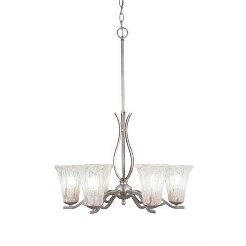Revo Aged Silver Six-Light Chandelier with Fluted Italian Ice Crystal Glass