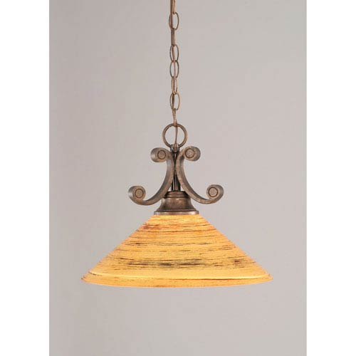 Toltec Lighting Curl Bronze One-Light Dome Pendant with 16-Inch Firre Saturn Glass Shade