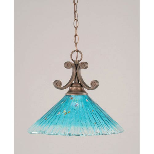 Curl Bronze One-Light Dome Pendant with 16-Inch Teal Crystal Glass Shade
