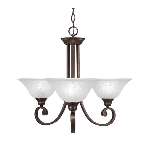 Curl Bronze Three-Light Chandelier with White Marble Glass