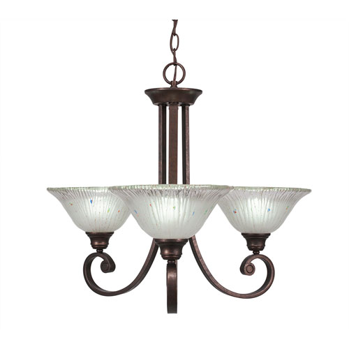 Toltec Lighting Curl Bronze Three-Light Chandelier with Frosted Crystal Glass