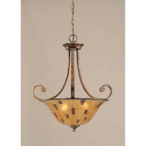 Curl Bronze Three-Light Pendant with Penshell Shade