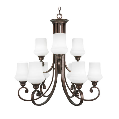 Toltec Lighting Curl Bronze Nine-Light Chandelier with Zilo Cayenne Linen Glass
