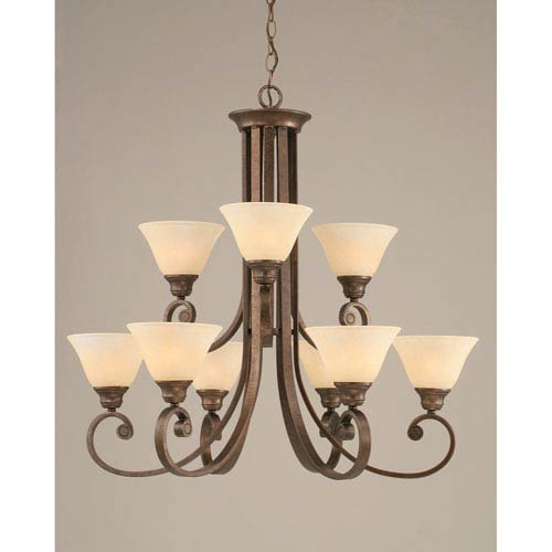 Curl Bronze Nine-Light Chandelier with 7-Inch Amber Marble Glass Shade