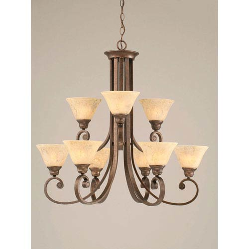 Toltec Lighting Curl Bronze Nine-Light Chandelier with 7-Inch Italian Marble Glass Shade