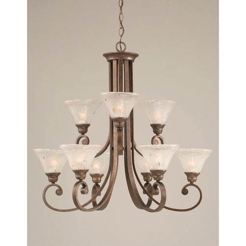 Toltec Lighting Curl Bronze Nine-Light Chandelier with 7-Inch Frosted Crystal Glass Shade
