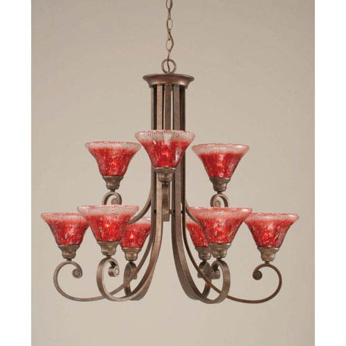 Toltec Lighting Curl Bronze Nine-Light Chandelier with 7-Inch Raspberry Crystal Glass Shade