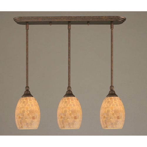 Bronze Three-Light Mini Pendant with Seashell Glass Shade