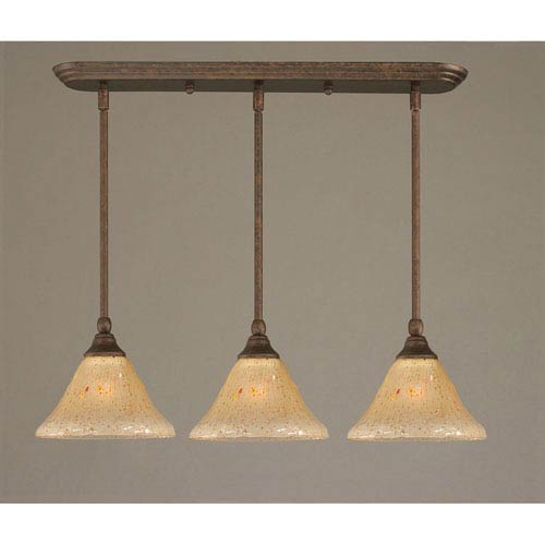 Bronze Three-Light Mini Pendant with Amber Crystal Glass Shade