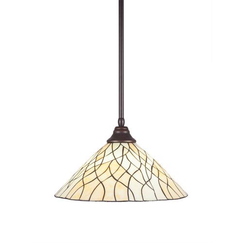 Toltec Lighting Any Dark Granite One-Light Pendant with Sandhill Tiffany Glass