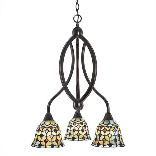 Bow Black Copper Three-Light Chandelier with Crescent Tiffany Glass