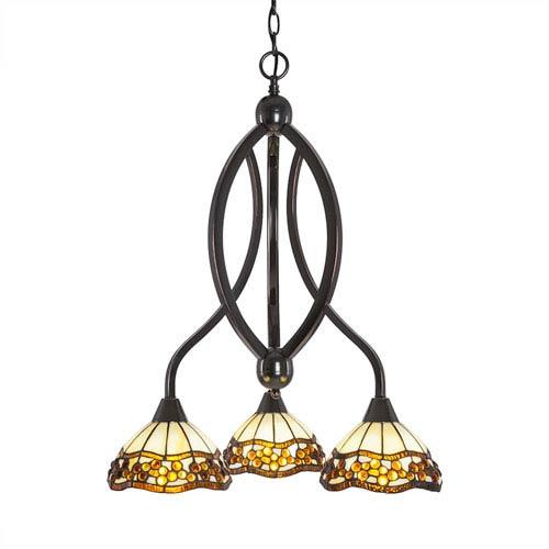 Bow Black Copper Three-Light Chandelier with Roman Jewel Tiffany Glass