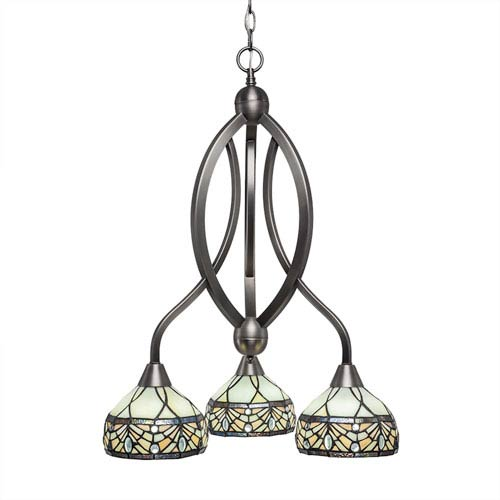 Toltec Lighting Bow Brushed Nickel Three-Light Chandelier with Royal Merlot Tiffany Glass