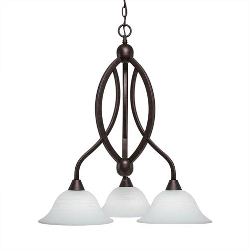 Toltec Lighting Bow Bronze Three-Light Chandelier with White Linen Glass