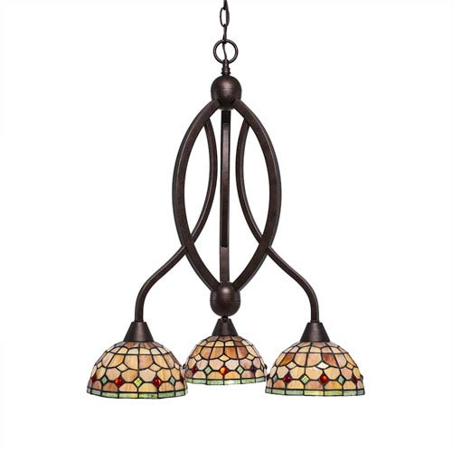 Toltec Lighting Bow Bronze Three-Light Chandelier with Rosetta Tiffany Glass