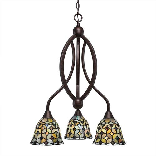 Toltec Lighting Bow Bronze Three-Light Chandelier with Crescent Tiffany Glass